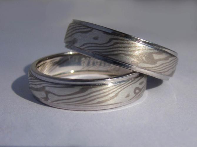 Mokume Gane prsteny s hranami - 1. foto