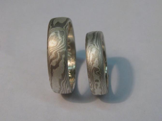 mokume gane  prsteny snubní - 1. foto