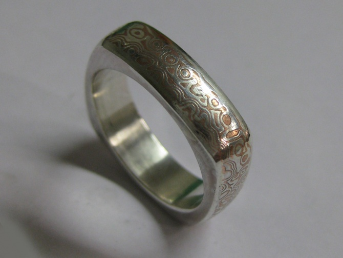 mokume gane  čtvercový prsten - 2. foto