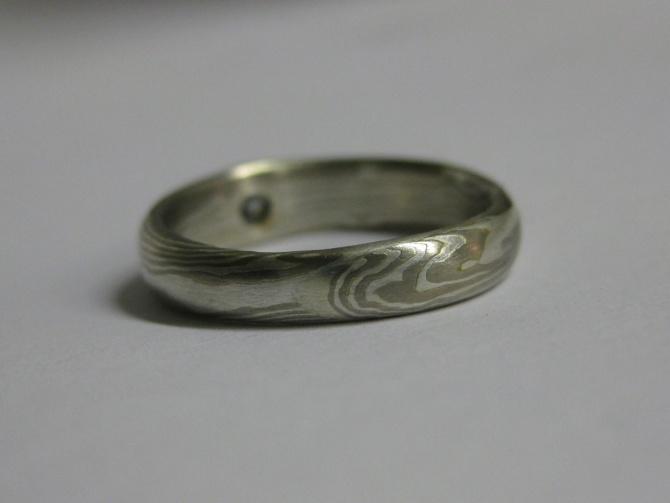 mokume gane zásnubní prsten - 3. foto