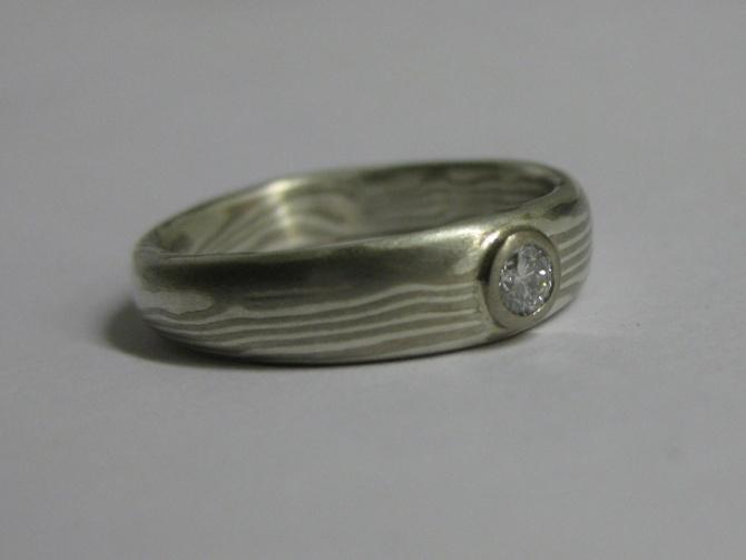 mokume gane zásnubní prsten - 1. foto