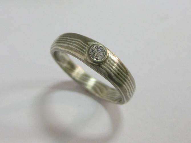 mokume gane zásnubní prsten - 2. foto