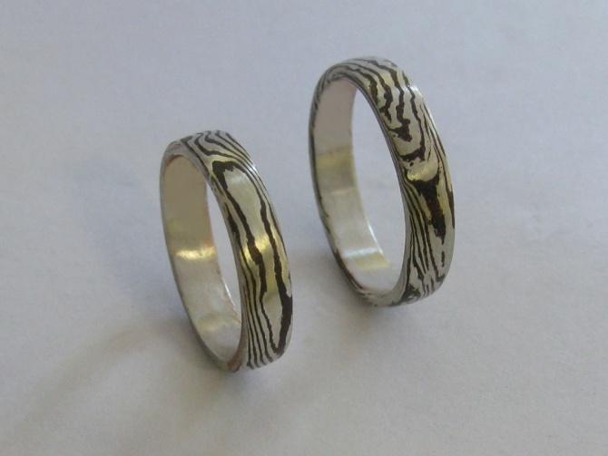 Mokume  Gane snubní prsteny - 2. foto