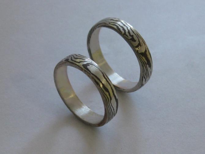 Mokume  Gane snubní prsteny - 1. foto