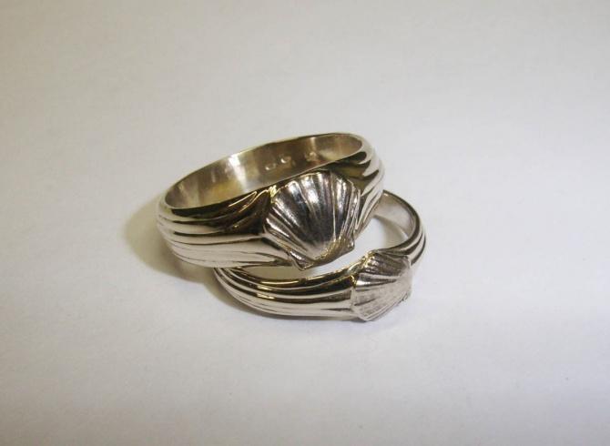 snubní prsteny- motiv mušle - 1. foto